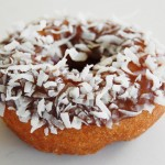 Chocolate Frosted Coconut Topped Cake Donut