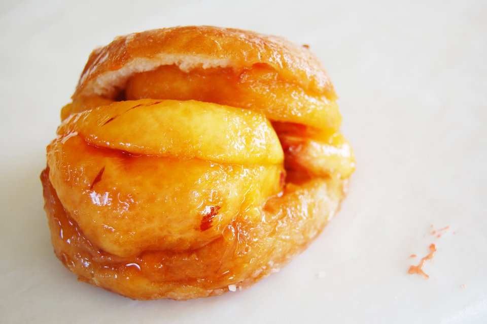 Fresh Peaches Stuffed in a Glazed Donut