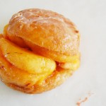 Fresh Peaches in a glaze and stuffed into a Donut